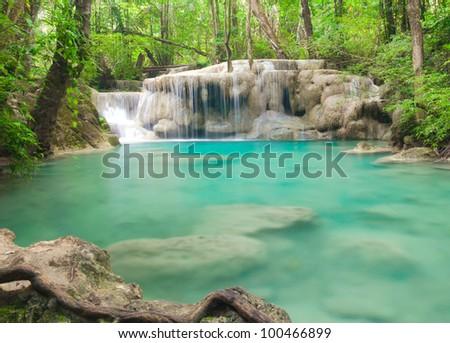 Beautiful waterfall in Kanjanaburi Thailand (Erawan waterfall)