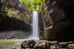 Beautiful waterfall in long exposure photography, known as the waterfall of the swallows, located in Rolante in Brazil. Location for trekking and camping.