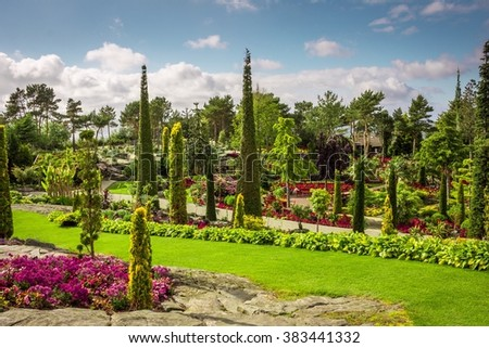 Shutterstock Beautiful Waterfall in Paradise Garden Called Flor og Fjaere in Stavanger, Norway