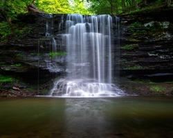 Beautiful Waterfall in Pennsylvania at Ricketts Glen State Park, Benton, PA. Harrison Wright Falls.