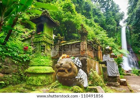 Beautiful waterfall in rainforest. Bali