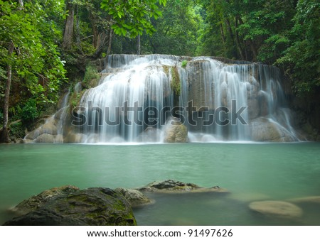 Beautiful waterfall in Thailand - stock photo