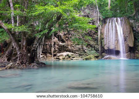 Beautiful waterfall in the forest at Erawan national park, Thailand