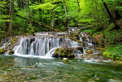 Beautiful waterfall in the forest, Caras Severin county, Beusnita National Park, Cheile Nerei, Bozovici, Romania