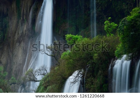 Beautiful waterfall in the green forest. Great waterfall in Thailand. Waterfall in tropical forest at Umpang National park, Tak, Thailand. #1261220668