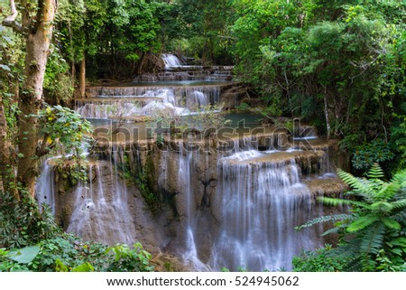 Beautiful waterfall in the jungle, Thailand. #524945062