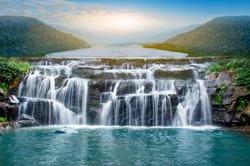 Beautiful waterfall in the morning sun