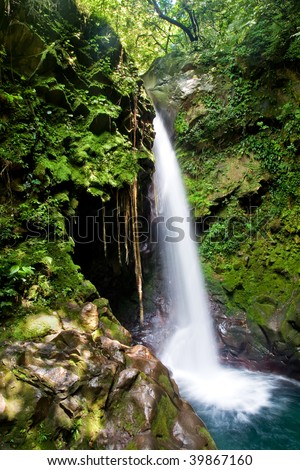 Beautiful waterfall in the tropical rain forest
