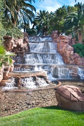 Beautiful waterfall man made on a tropical resort in Las Vegas