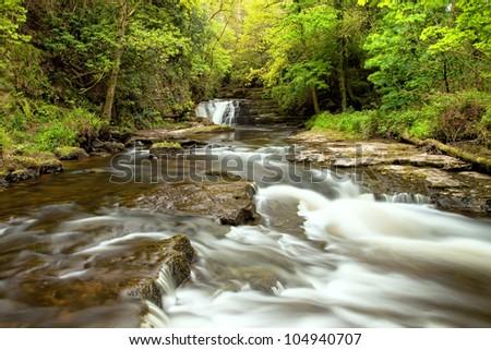 Beautiful waterfall of Clare Glens, Ireland.