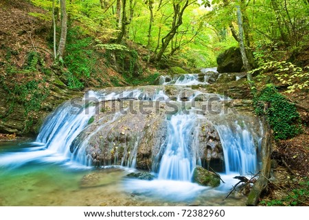 beautiful waterfall on a mountain river