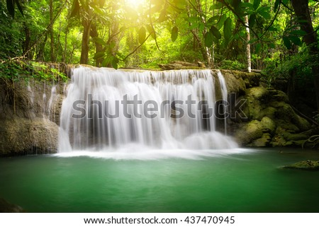 Beautiful waterfall with sunlight, Nature landscape