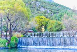 Beautiful Waterfalls at Jade Water Village in Lijiang