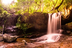 Beautiful waterfalls in the forest at Kbal Spean near Siem Reap, Cambodia