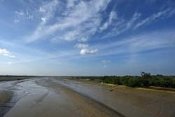 Beautiful waterscape of river Matla during the low tide in Canning, West Bengal, India