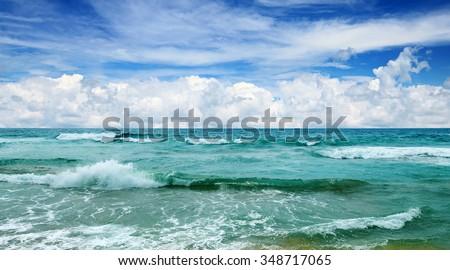 stock photo beautiful waves in the sea 348717065 - Каталог — Фотообои «Море, пляж»