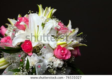stock photo beautiful wedding bouquet on black background