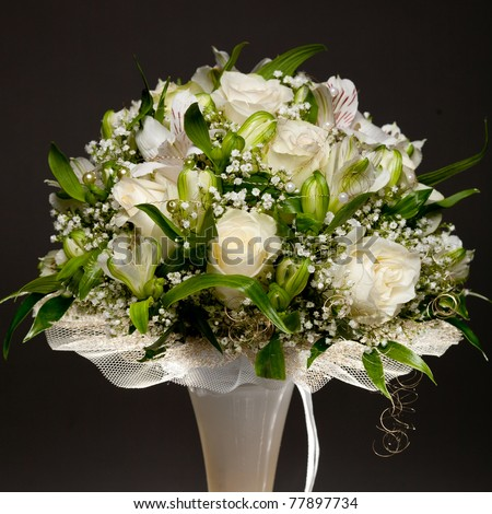 stock photo beautiful wedding bouquet on black background