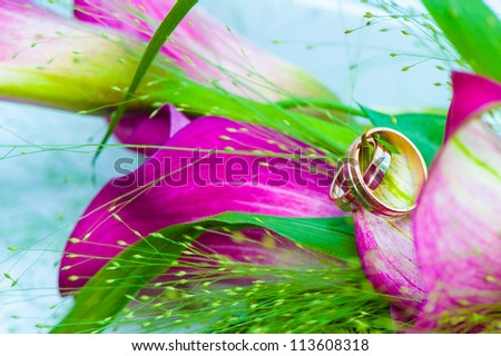 beautiful wedding bouquet whith rings