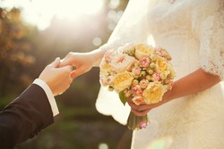 beautiful wedding bouquet with vibrant flowers