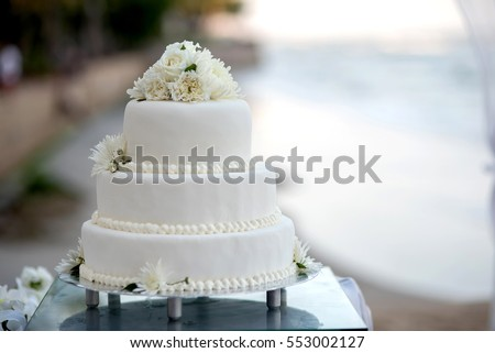 Beautiful wedding cake, close up of cake and blur background, selective focus.