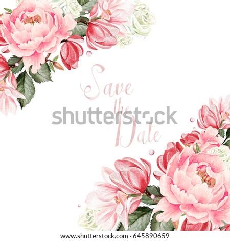 Beautiful  wedding card, invitation with peony flowers and magnolia. Illustration