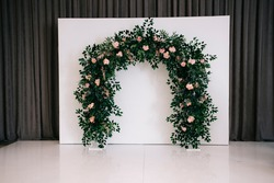 Beautiful wedding ceremony design decoration elements with arch, floral design, flowers.