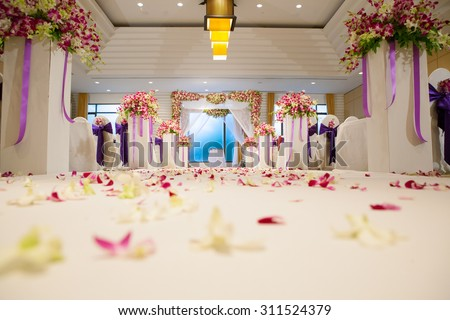 Shutterstock Beautiful wedding ceremony design decoration elements with arch, floral design, flowers, chairs and balloons