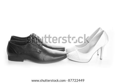 Beautiful wedding couple of shoes
