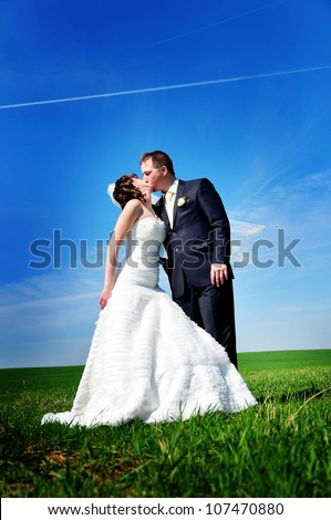 beautiful wedding couple on the field