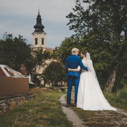 Beautiful wedding couple, wedding on village, rural church in background