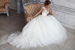 Beautiful wedding dress. Bride in wedding dress. Wedding dress in Paris. Bride in a luxury apartment in a wedding dress.