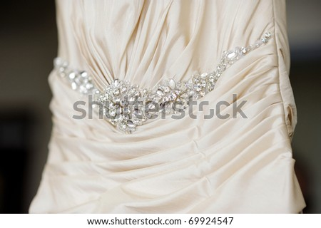 Beautiful wedding dress decoration close up