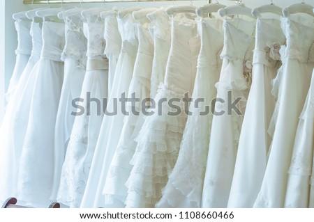 Beautiful wedding dress wearing a wedding