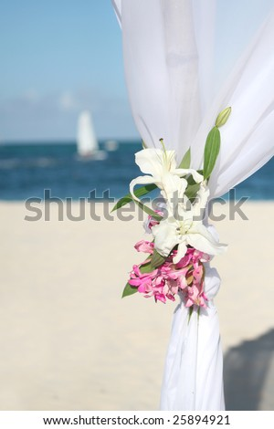 Beautiful wedding gazebo set up for  a beach, ocean front ceremony