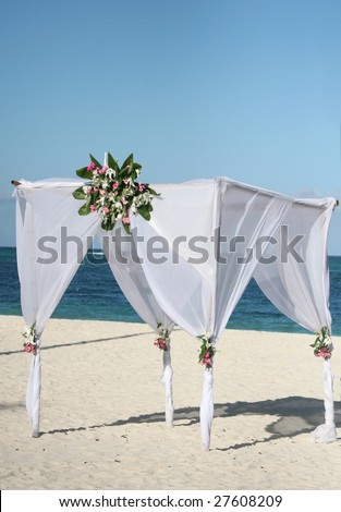 stock photo Beautiful wedding gazebo set up for a beach