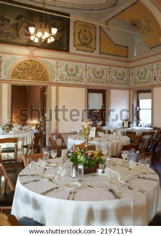 Beautiful wedding reception area ready for guests and the party - stock photo
