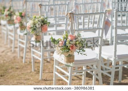 beautiful  Wedding setting on the beach with sunny at Phuket Thailand