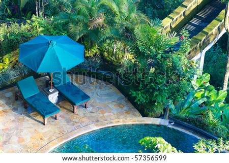 Beautiful wellness area and swimming pool in luxury resort.