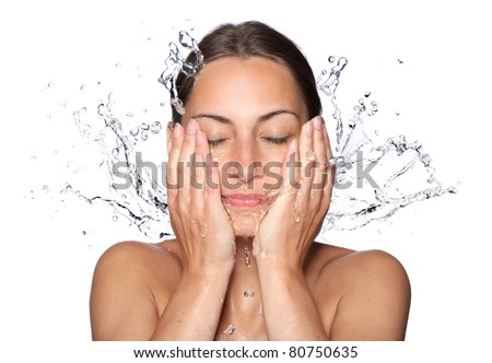 Beautiful wet woman face with water drop. Close-up portrait on white background #80750635