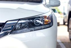 Beautiful white car headlights