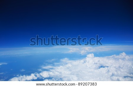 Beautiful white clouds and blue sky with space for text