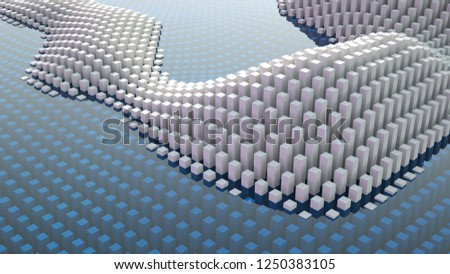 Beautiful white fantasy abstraction from cubes. 3d illustration, 3d rendering. #1250383105