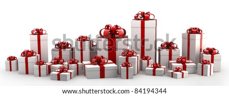Beautiful white gift boxes with red ribbon isolated on white background 3D render ( high resolution )