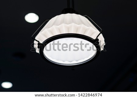 Beautiful white light lamp vintage style in the coffee shop