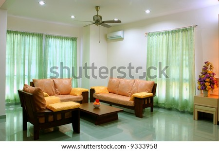 Beautiful White Living Room With Complete Sofa Set Stock Photo ...