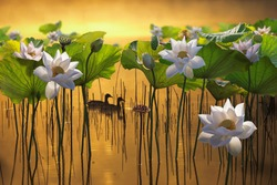 Beautiful white lotus flower and two ducks in lake.