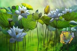 Beautiful white lotus flower in lake
