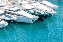 Beautiful white modern yachts at sea port in Nice, France, Europe.