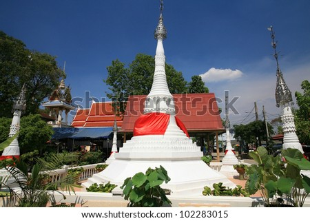Beautiful white pagodas with garden decoration at wat Bang Chak in Nonthaburi province, Thailand - stock photo